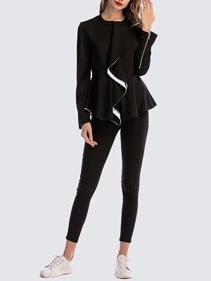 Black Long Sleeve Zipper Casual Flounce Crew Neck Coat_4