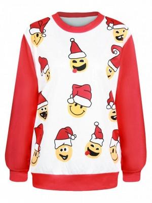 Men/Women Red Cute Cartoon Santa Claus Printed Cotton Thin Funny Christmas T-shirts_1