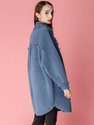 Sweet Raglan Sleeve Buttoned Fur And Shearling Coats_5