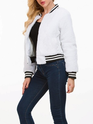 White Buttoned Casual Fur and Shearling Coat_6