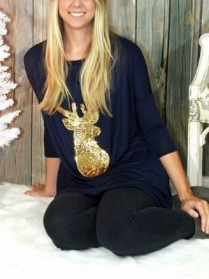 Casual Christmas Sequined Deer Printed Long Sleeves Cotton Loose T-shirt for Womens_1