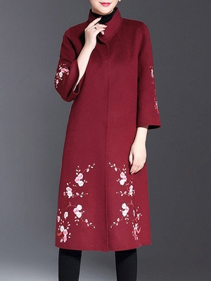 Long Sleeve Floral-embroidered Casual Floral Coat_1