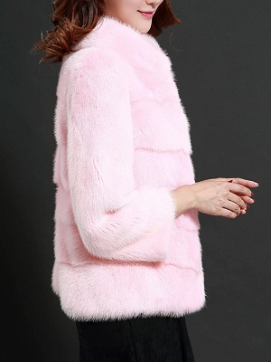Pink Solid Stand Collar Buttoned Fluffy  Fur and Shearling Coat_5