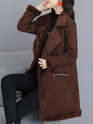 Paneled Zipper Lapel Casual Fur And Shearling Coats_6