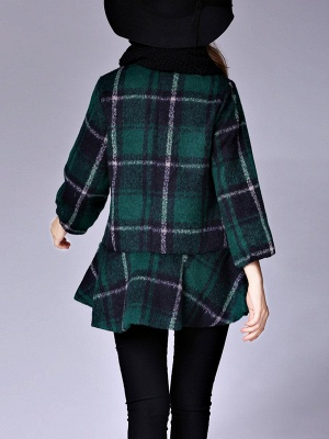 Checkered/Plaid Raglan Sleeve Casual Color-block Coat_5