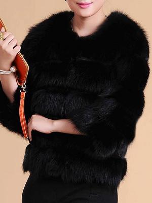 Shift 3/4 Sleeve Fluffy  Fur and Shearling Coat_3