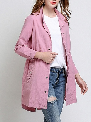 Pink Long Sleeve Stand Collar Coat_7