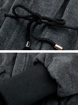 Gray Raglan Sleeve Paneled Coat_6