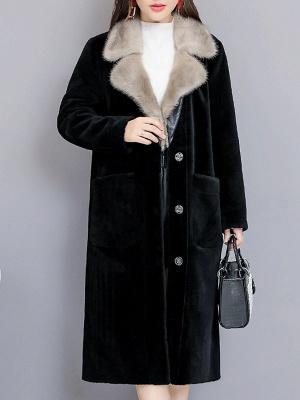 Black Work Lapel Paneled Pockets Fur And Shearling Coats_1