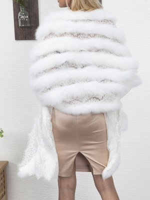 Guipure lace Paneled Fluffy Fur and Shearling Coat_4