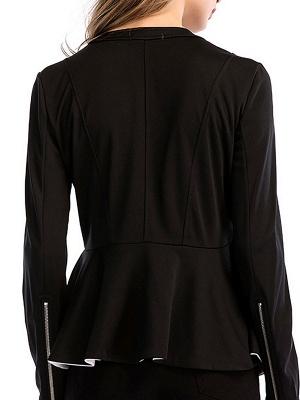 Black Long Sleeve Zipper Casual Flounce Crew Neck Coat_3