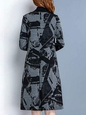 Black Long Sleeve Shawl Collar Paneled Abstract Coat_3