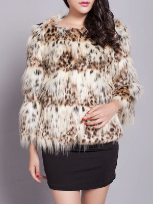 Beige Long Sleeve Shift Fluffy Faux Fur Fur and Shearling Coat_4