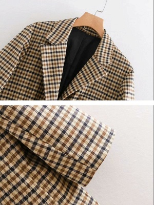 Casual Gingham Buttoned Pockets Shift Lapel Slit Coat_5