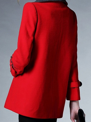 Red Pockets Shift Solid Long Sleeve Coat_3