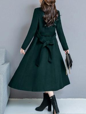 Long Sleeve Casual Shawl Collar Solid Coat_5