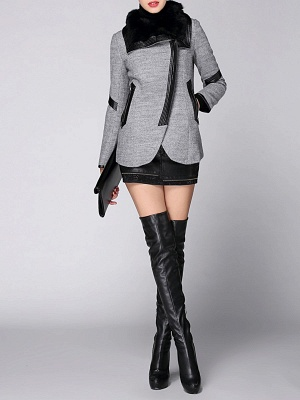 Paneled Long Sleeve Casual Shawl Collar Artificial Leather And Shearling Coat_5