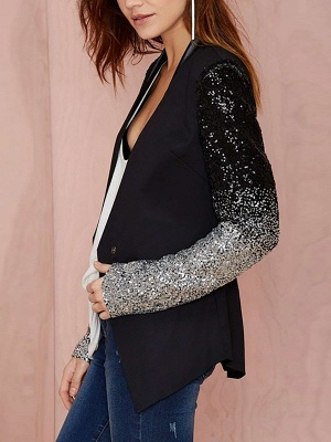 Black Casual Solid Long Sleeve Glitter-finished Coat_4