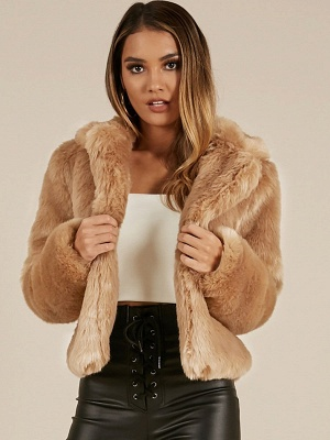 Yellow Brown Long Sleeve Casual Fluffy Fur And Shearling Coats - StyleWe.com_8