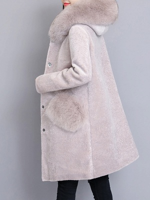 Casual Buttoned Long Sleeve Hoodie Fur and Shearling Coat_1