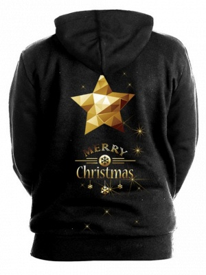 Couple's Black Merry Christmas Tree Elk Printed Long Sleeves Hoodies for Men/Women_3