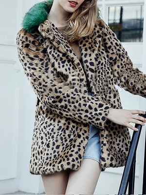 Brown Fluffy  Casual Fur and Shearling Coat_3
