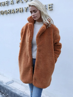 Long Sleeve Shirt Collar Solid Shift Fur And Shearling Coats_1