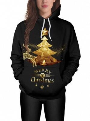 Couple's Black Merry Christmas Tree Elk Printed Long Sleeves Hoodies for Men/Women_4