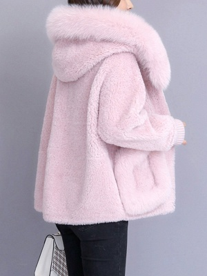 Hoodie Paneled Fluffy Solid Fur And Shearling Coats_8