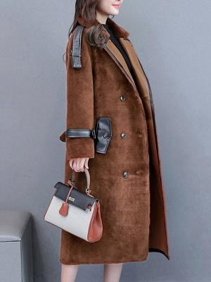 Solid Paneled Long Sleeve Fur And Shearling Coats_5
