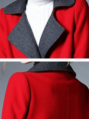 Red Pockets Shift Solid Long Sleeve Coat_5