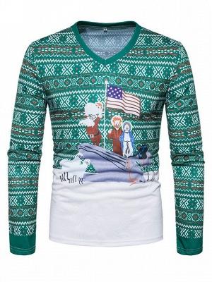 Mens Santa Claus 3D Printed V-neck Long Sleeves Green Ugly Christmas Cotton T-shirts_2