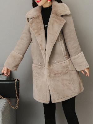 Lapel Long Sleeve Shift Solid Fur And Shearling Coats_2