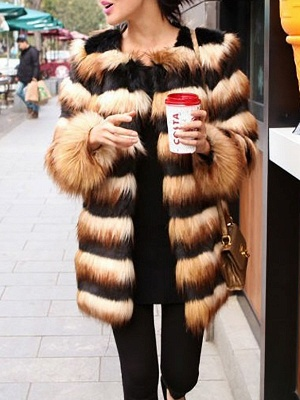 Black-Yellow Long Sleeve Faux Fur Shift Striped Casual Fur and Shearling Coat_6