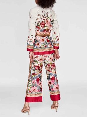 Red Deep V-Neck Long Sleeve Belts Printed Floral Coat_3