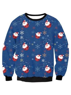 Women's Blue Santa Claus Snowflake Printed Long Sleeves Casual Christmas Sweatshirt_1