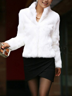 Stand Collar Solid Long Sleeve Fur and Shearling Coat_7