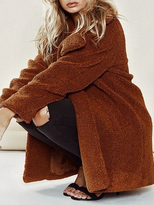 Brown Long Sleeve Lapel Solid Shift Fur And Shearling Coats - StyleWe.com_1