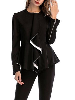 Black Long Sleeve Zipper Casual Flounce Crew Neck Coat_6