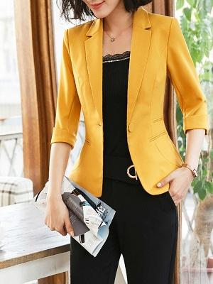 3/4 Sleeve Casual V neck Polyester Pockets Coat_5