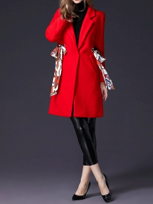 Red Casual Buttoned Lapel Coat_5