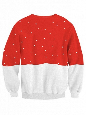 Red and White Snowman Christmas Tree Printed Long Sleeves Sweatshirts for Women_3