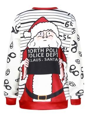 White Santa Claus Letter Printed Stripes Long Sleeves Christmas Sweatshirt_8