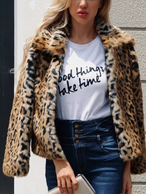 Brown Long Sleeve Leopard Print  Fur and Shearling Coat_1