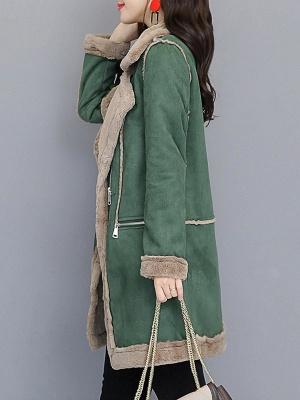 Paneled Zipper Lapel Casual Fur And Shearling Coats_4