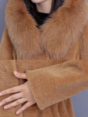 Hoodie Shift Pockets Long Sleeve Fur And Shearling Coats_9