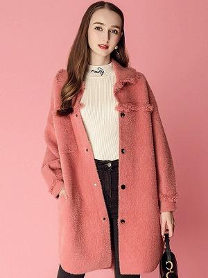 Sweet Raglan Sleeve Buttoned Fur And Shearling Coats_1
