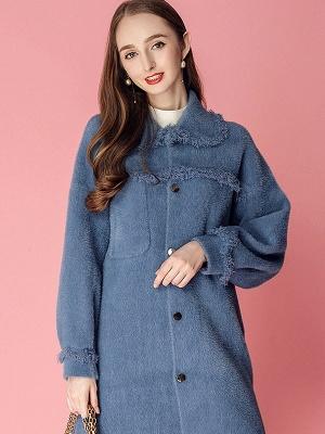 Sweet Raglan Sleeve Buttoned Fur And Shearling Coats_9