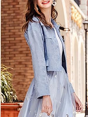 Blue Shirt Collar Long Sleeve Solid Coat_4