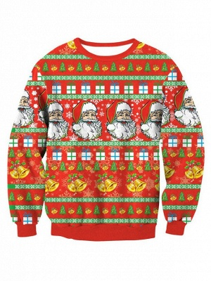 Orange Santa Claus Printed Long Sleeves Cute Christmas Sweatshirts for Women_2